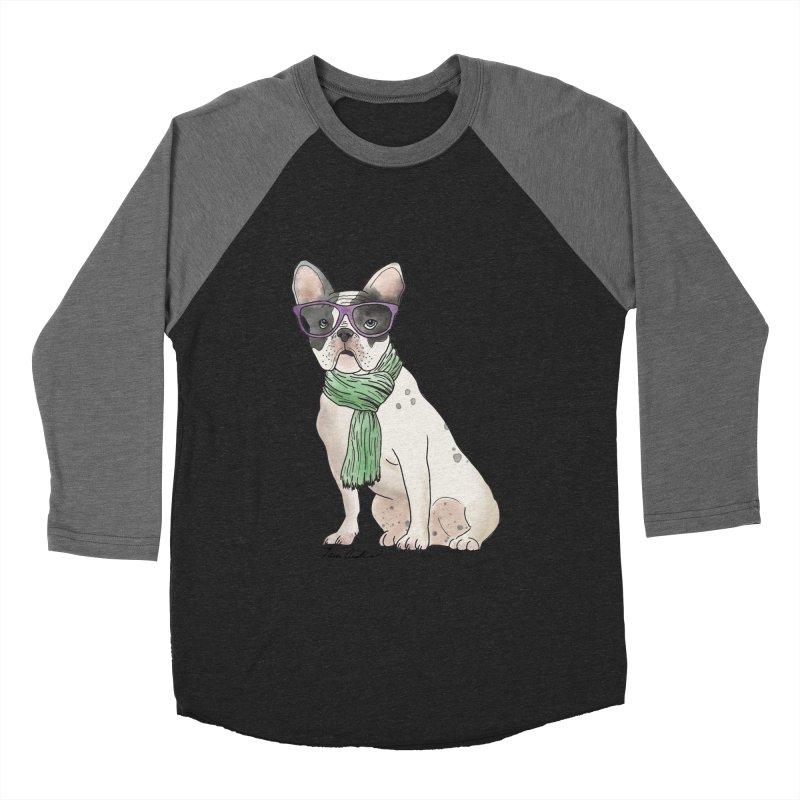 Hipster French Bulldog Men's Baseball Triblend Longsleeve T-Shirt by Tara Joy Andrews