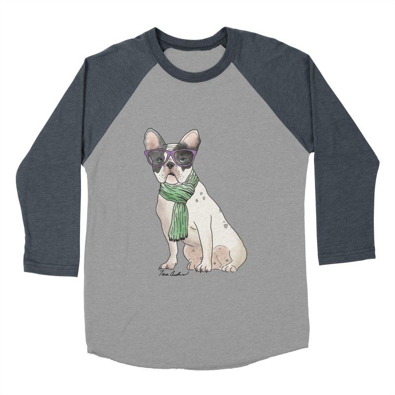 Hipster French Bulldog Men's Baseball Triblend Longsleeve T-Shirt by Tara Joy Andrews