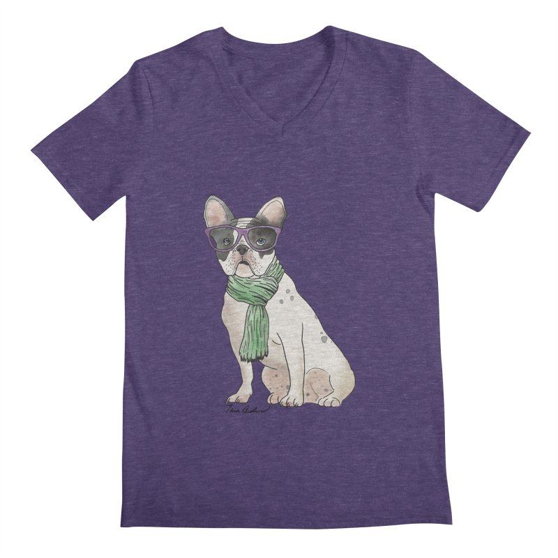 Hipster French Bulldog Men's Regular V-Neck by Tara Joy Andrews
