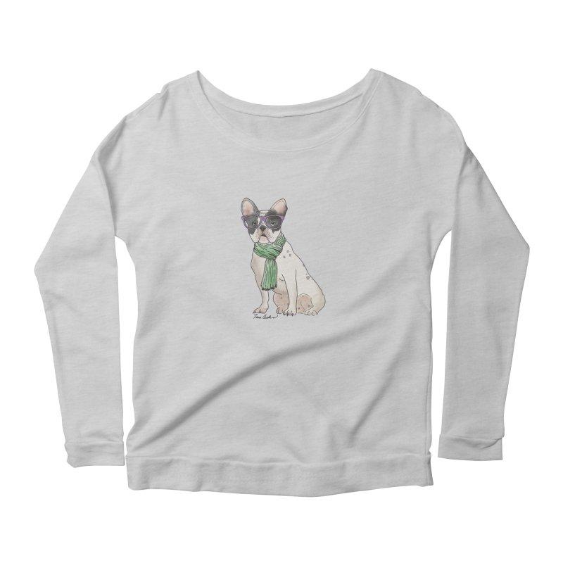 Hipster French Bulldog Women's Scoop Neck Longsleeve T-Shirt by Tara Joy Andrews