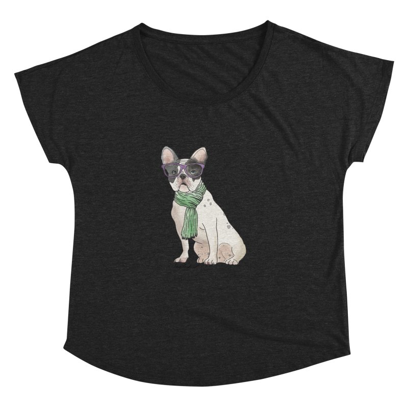 Hipster French Bulldog Women's Dolman Scoop Neck by Tara Joy Andrews