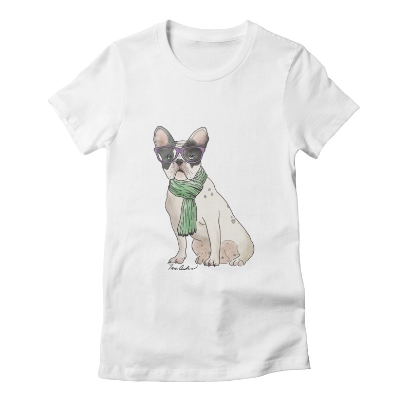 Hipster French Bulldog Women's Fitted T-Shirt by Tara Joy Andrews