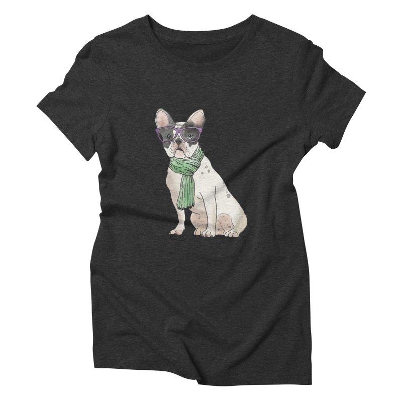 Hipster French Bulldog Women's Triblend T-Shirt by Tara Joy Andrews