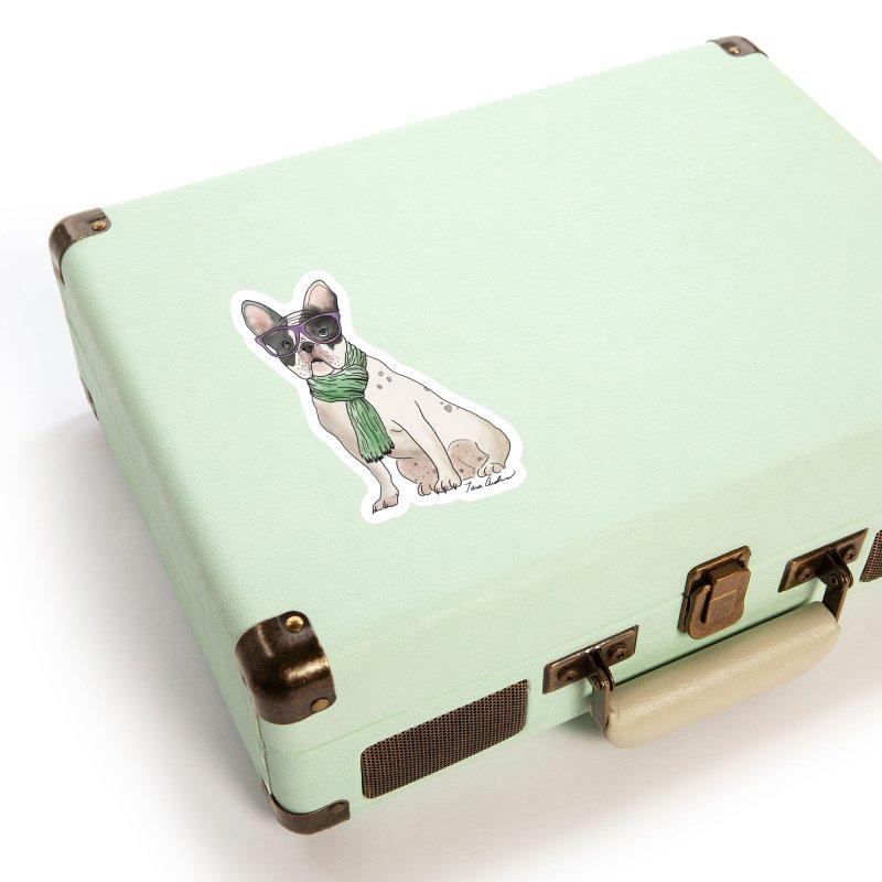 Hipster French Bulldog Accessories Sticker by Tara Joy Andrews