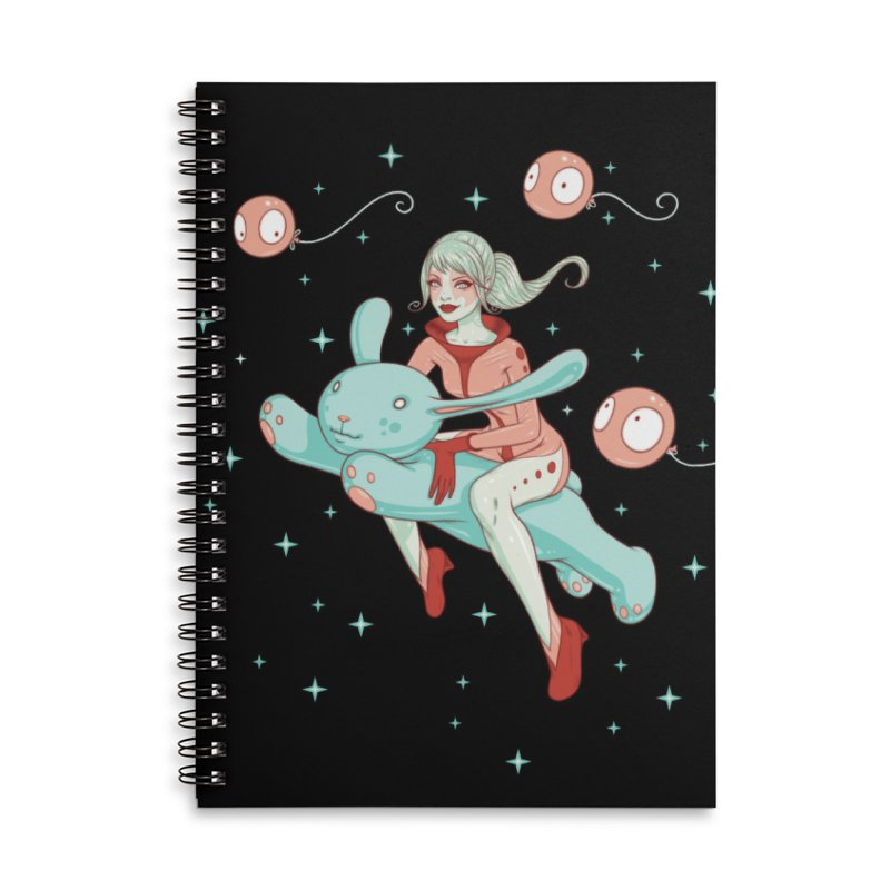 Space Bunny Accessories Lined Spiral Notebook by Tara McPherson