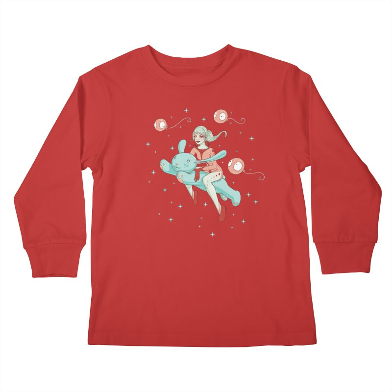 Space Bunny Kids Longsleeve T-Shirt by Tara McPherson