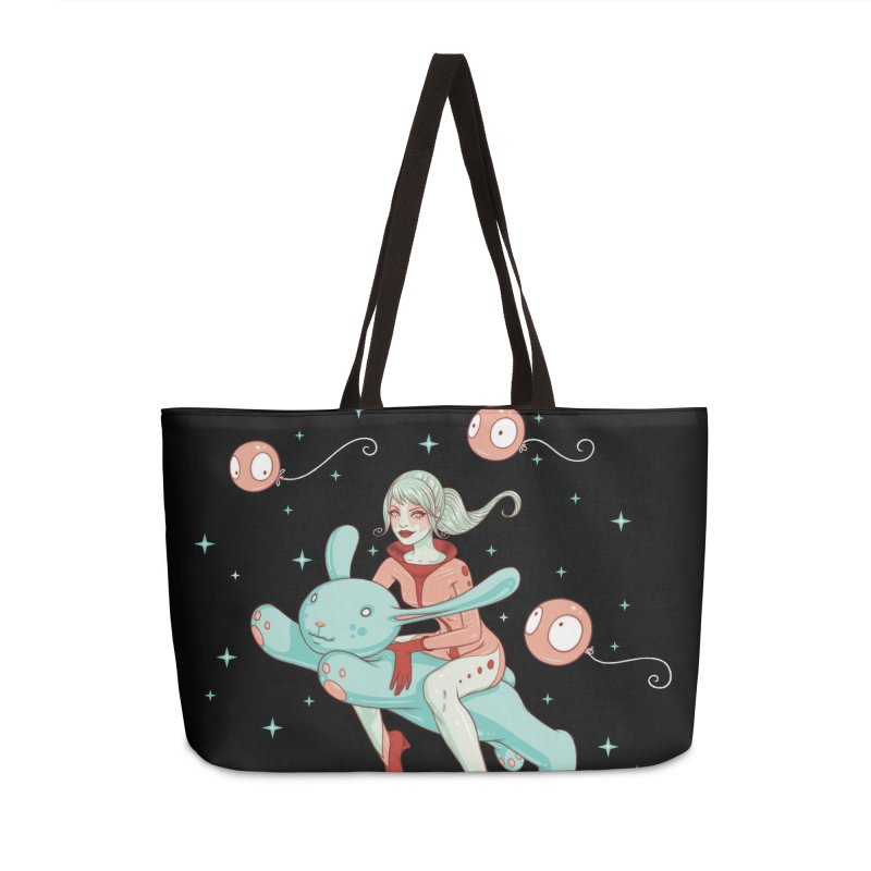 Space Bunny Accessories Weekender Bag Bag by Tara McPherson