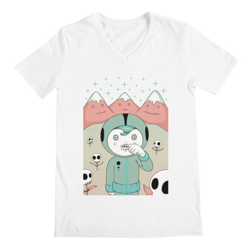 Lucius and His First Mustache Finger Men's V-Neck by Tara McPherson