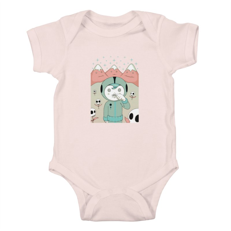 Lucius and His First Mustache Finger Kids Baby Bodysuit by Tara McPherson