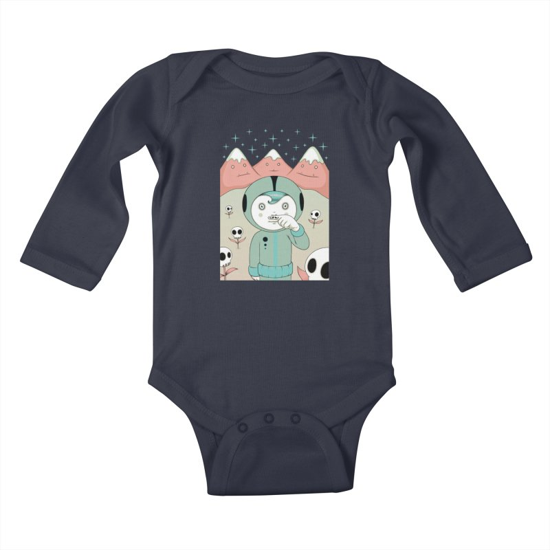 Lucius and His First Mustache Finger Kids Baby Longsleeve Bodysuit by Tara McPherson