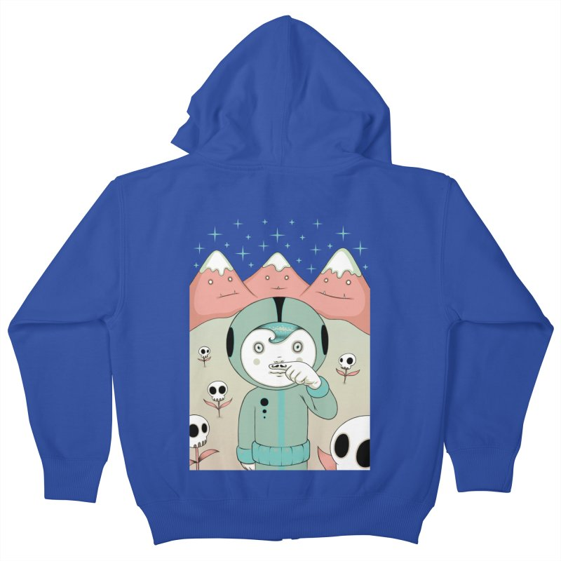 Lucius and His First Mustache Finger Kids Zip-Up Hoody by Tara McPherson