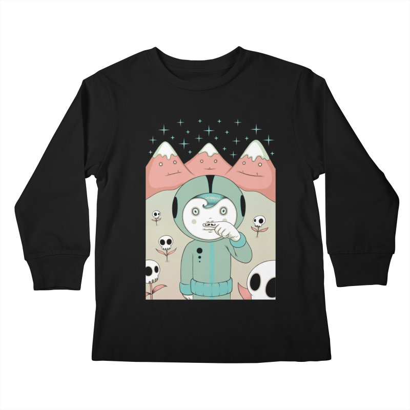 Lucius and His First Mustache Finger Kids Longsleeve T-Shirt by Tara McPherson