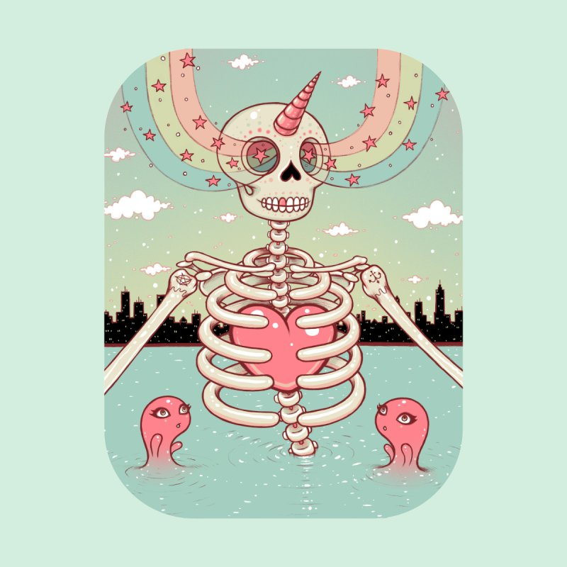 Skeleton Heart Kids T-Shirt by Tara McPherson