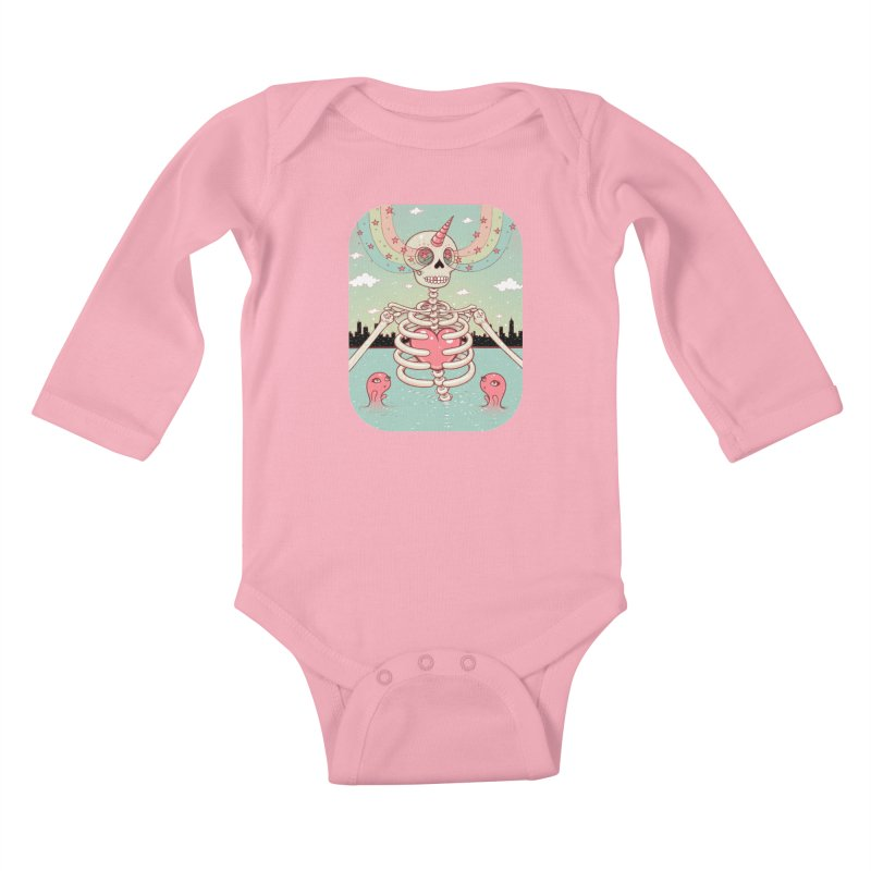Skeleton Heart Kids Baby Longsleeve Bodysuit by Tara McPherson