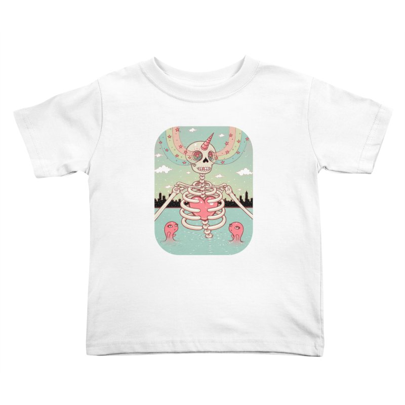 Skeleton Heart Kids Toddler T-Shirt by Tara McPherson