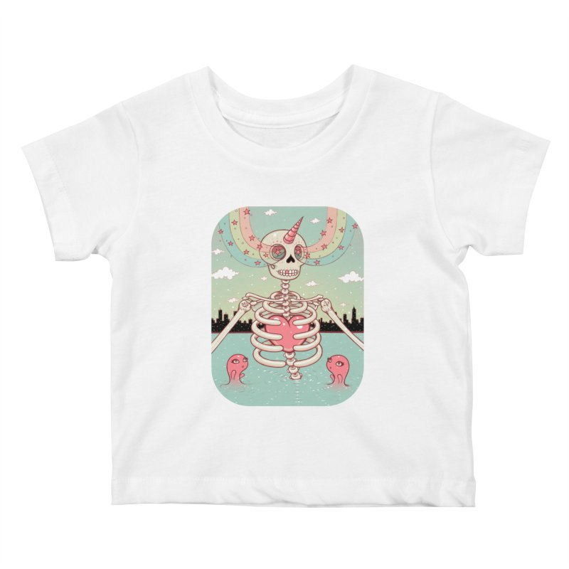 Skeleton Heart Kids Baby T-Shirt by Tara McPherson