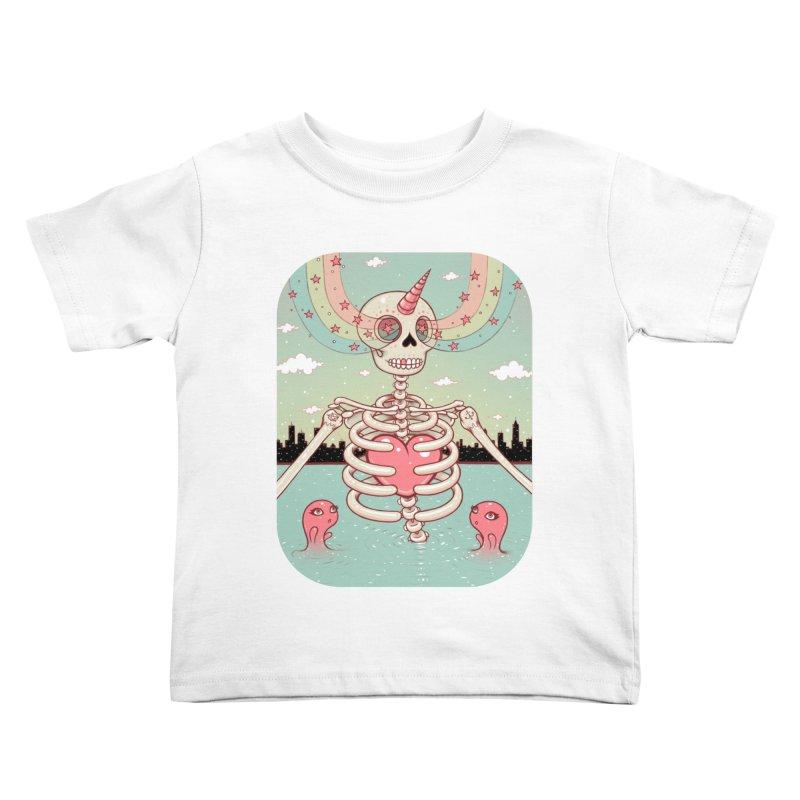 Skeleton Heart Kids Toddler T-Shirt by Tara McPherson