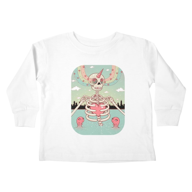 Skeleton Heart Kids Toddler Longsleeve T-Shirt by Tara McPherson
