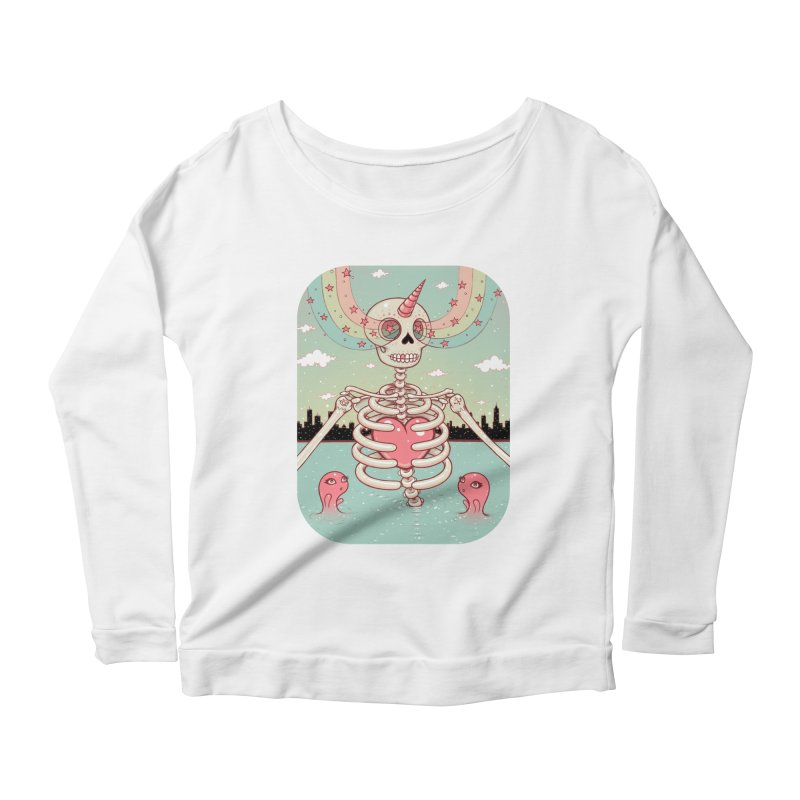 Skeleton Heart Women's Longsleeve Scoopneck  by Tara McPherson