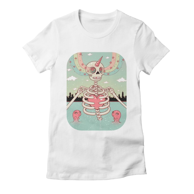 Skeleton Heart Women's Fitted T-Shirt by Tara McPherson