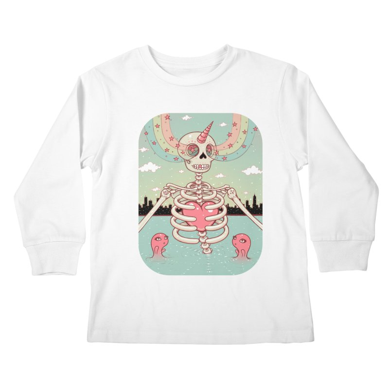 Skeleton Heart Kids Longsleeve T-Shirt by Tara McPherson