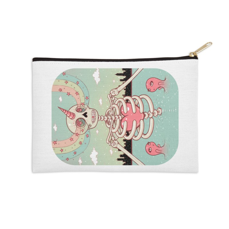 Skeleton Heart Accessories Zip Pouch by Tara McPherson