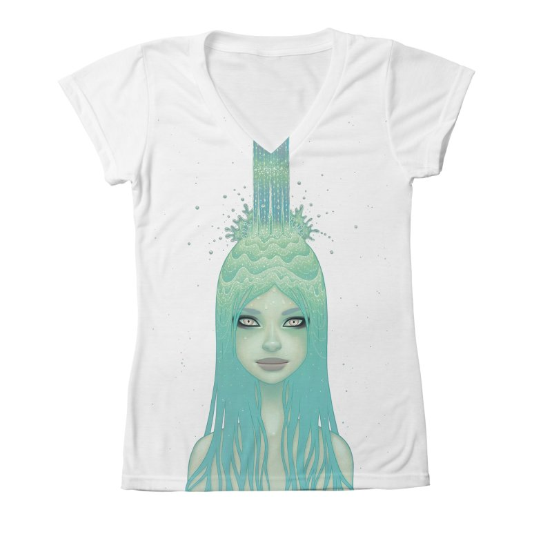 Crystal Waterfall Women's All-Over Print V-Neck by Tara McPherson