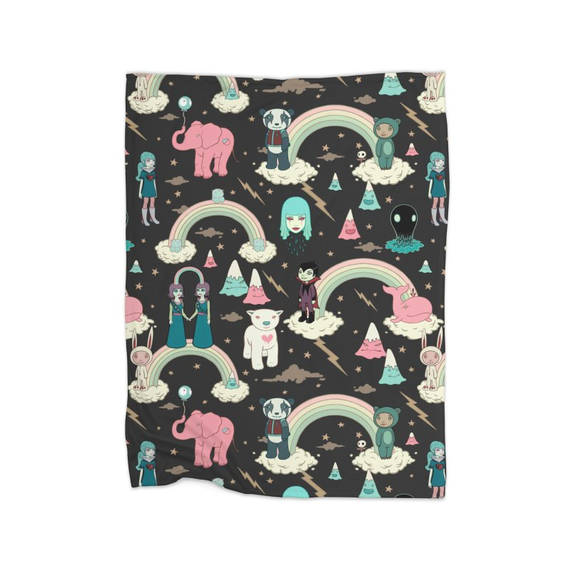 Stellar Dream Scouts - Black Home Fleece Blanket Blanket by Tara McPherson