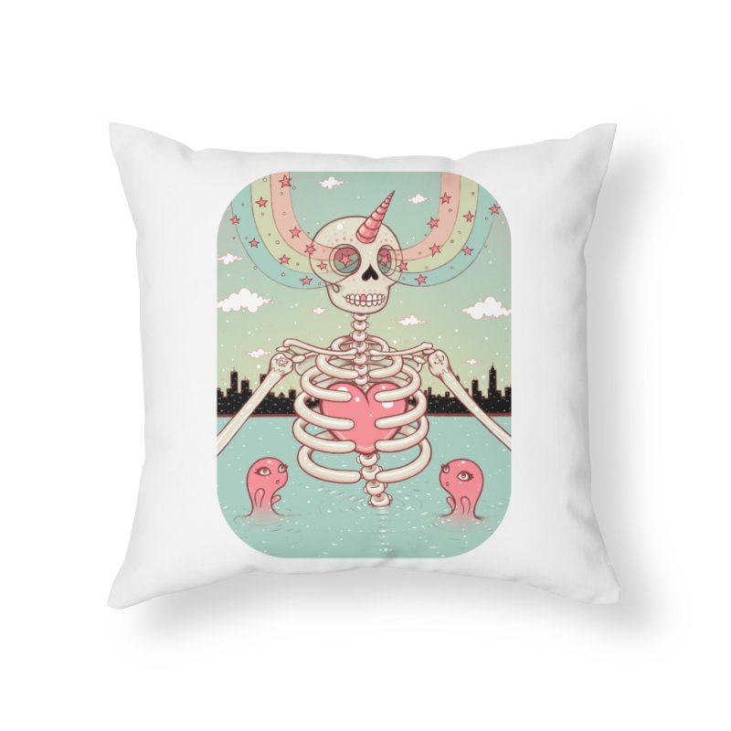 Skeleton Heart Home Throw Pillow by Tara McPherson