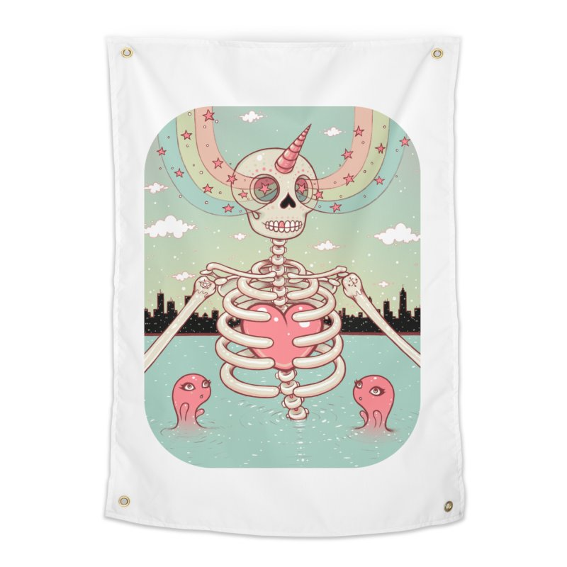 Skeleton Heart Home Tapestry by Tara McPherson