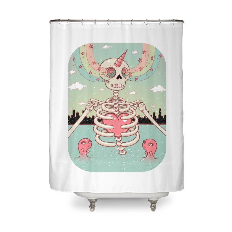 Skeleton Heart Home Shower Curtain by Tara McPherson