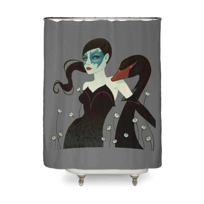 Black Swan Home Shower Curtain by Tara McPherson