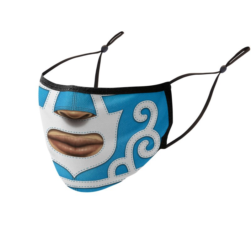 Mexican Wrestler (Blue) Accessories Face Mask by Tato