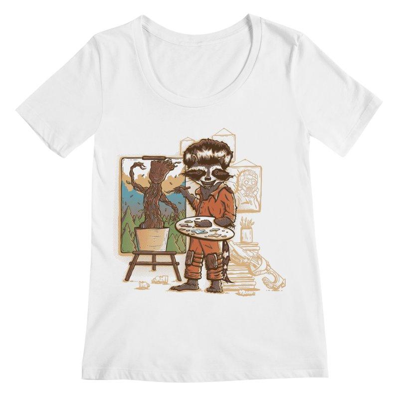 Happy Little Groots Women's Scoopneck by Taylor Rose Makes Art