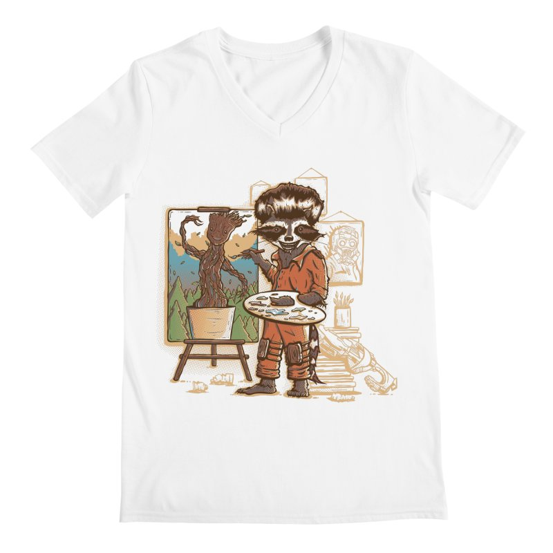 Happy Little Groots Men's V-Neck by Taylor Rose Makes Art
