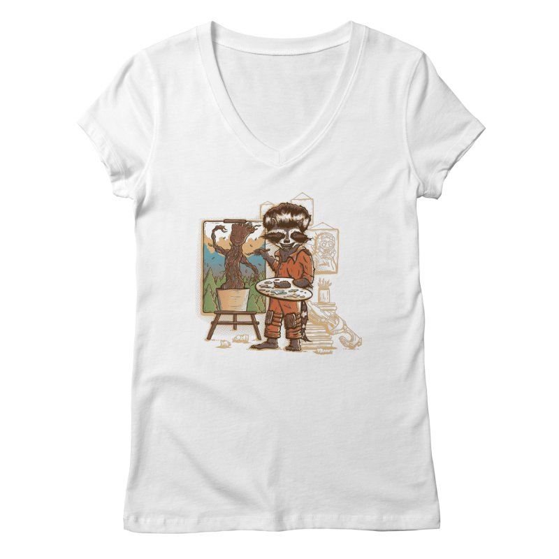 Happy Little Groots Women's V-Neck by Taylor Rose Makes Art