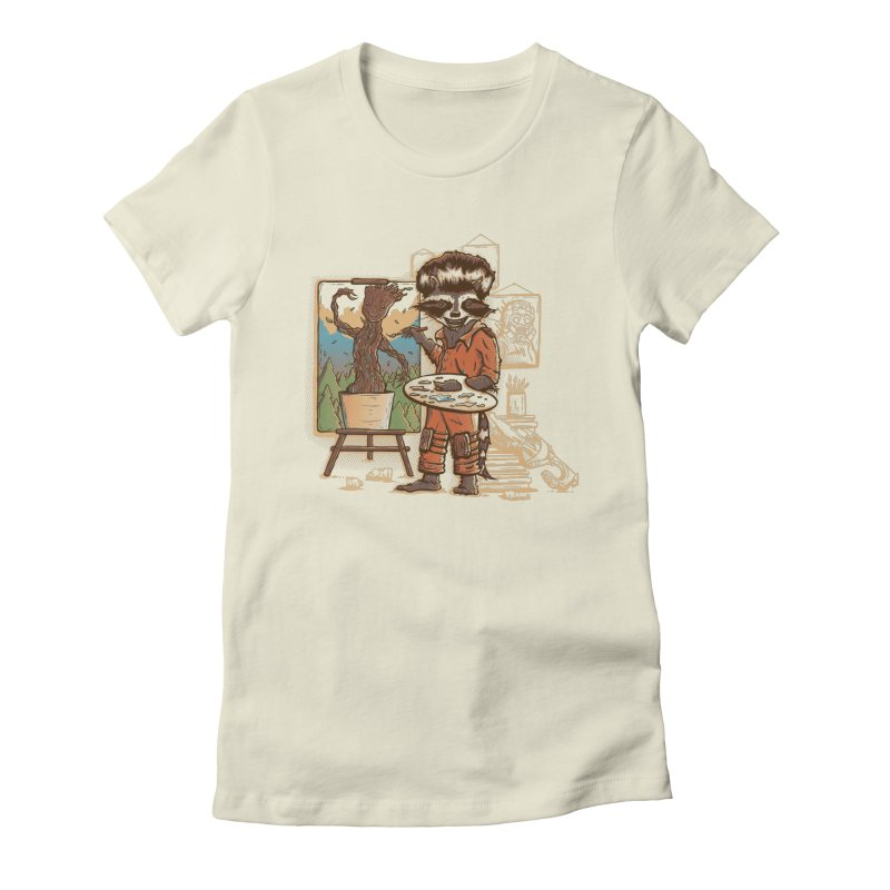 Happy Little Groots Women's Fitted T-Shirt by Taylor Rose Makes Art