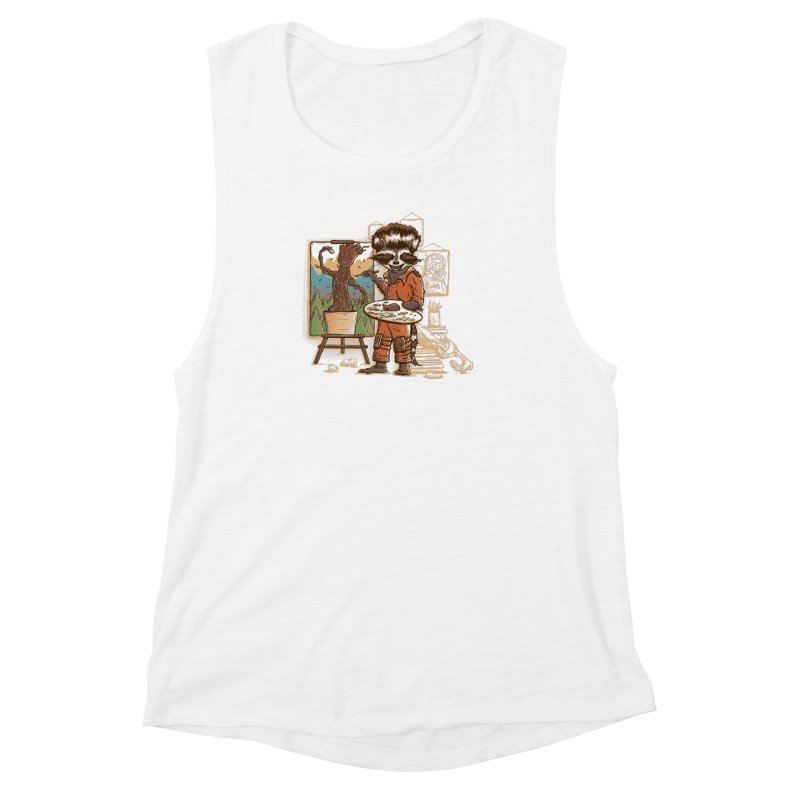 Happy Little Groots Women's Muscle Tank by Taylor Rose Makes Art