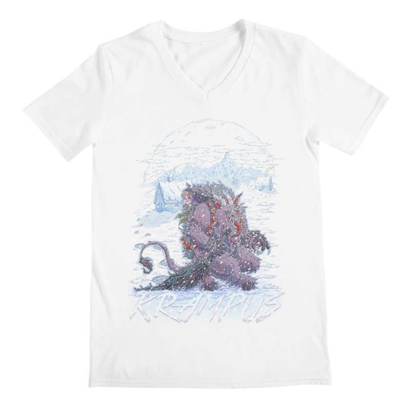 Krampus Men's V-Neck by Taylor Rose Makes Art