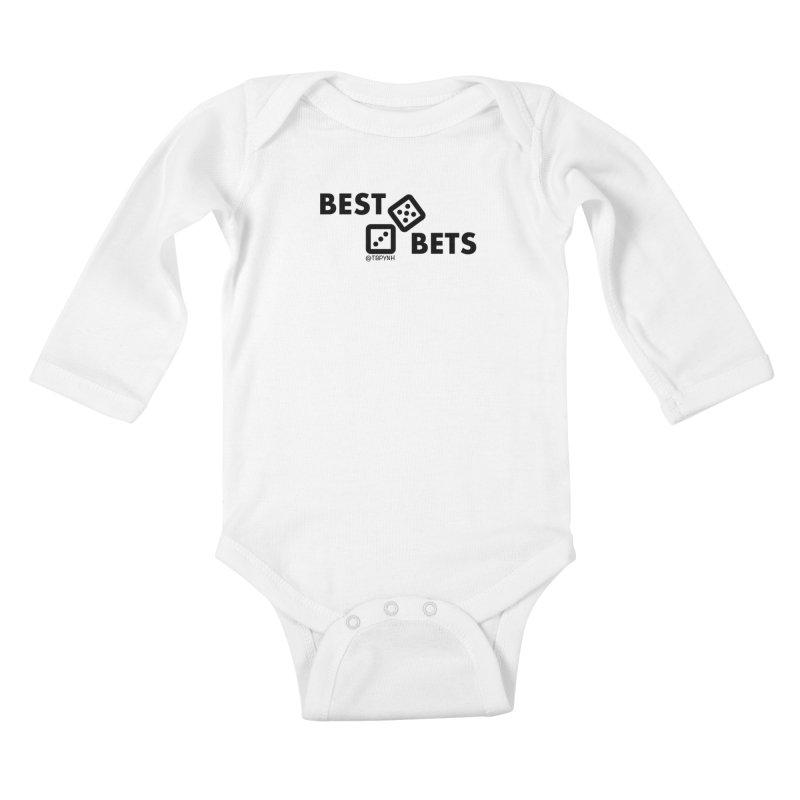 Best Bets (Black) Kids Baby Longsleeve Bodysuit by The Best Podcast You've Never Heard