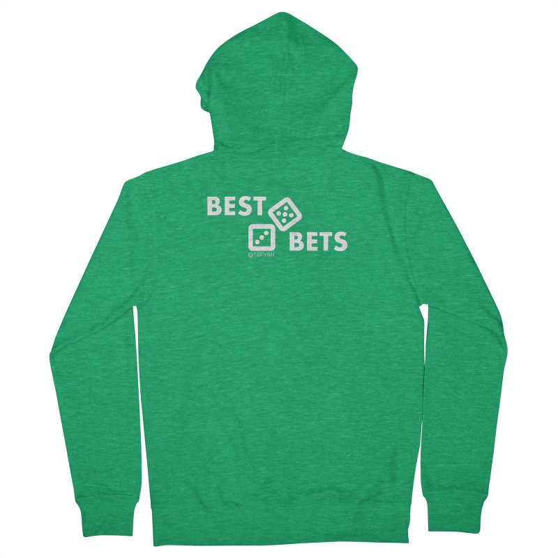 Best Bets (White) Men's French Terry Zip-Up Hoody by The Best Podcast You've Never Heard