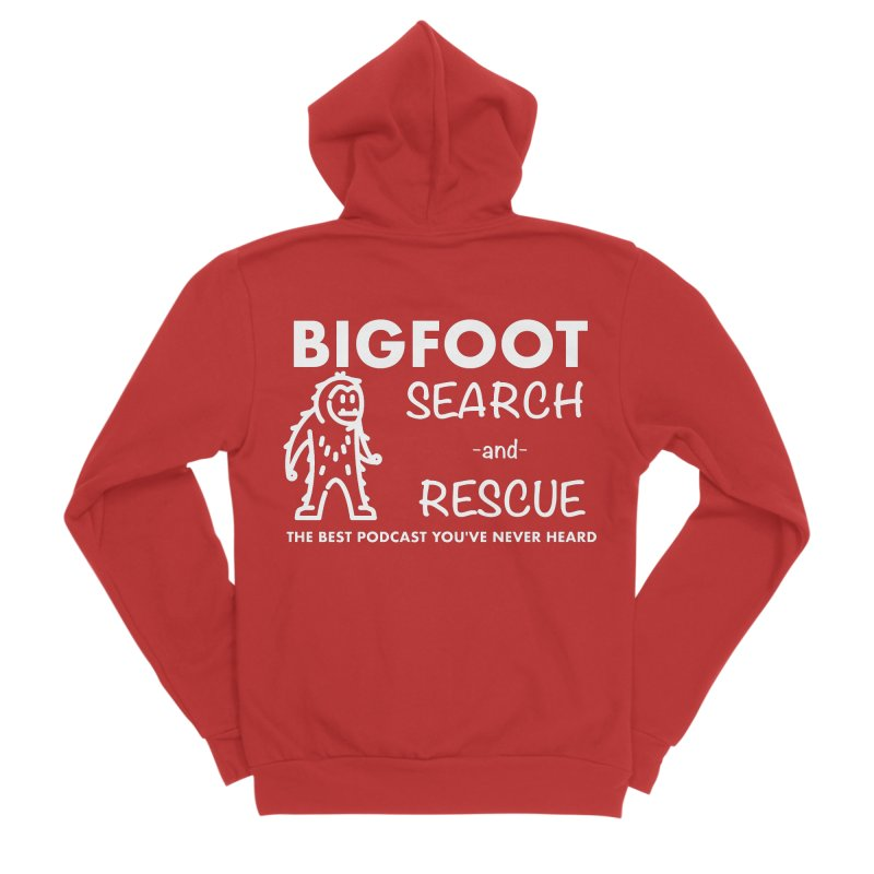 Bigfoot Search & Rescue (White) Men's Sponge Fleece Zip-Up Hoody by The Best Podcast You've Never Heard