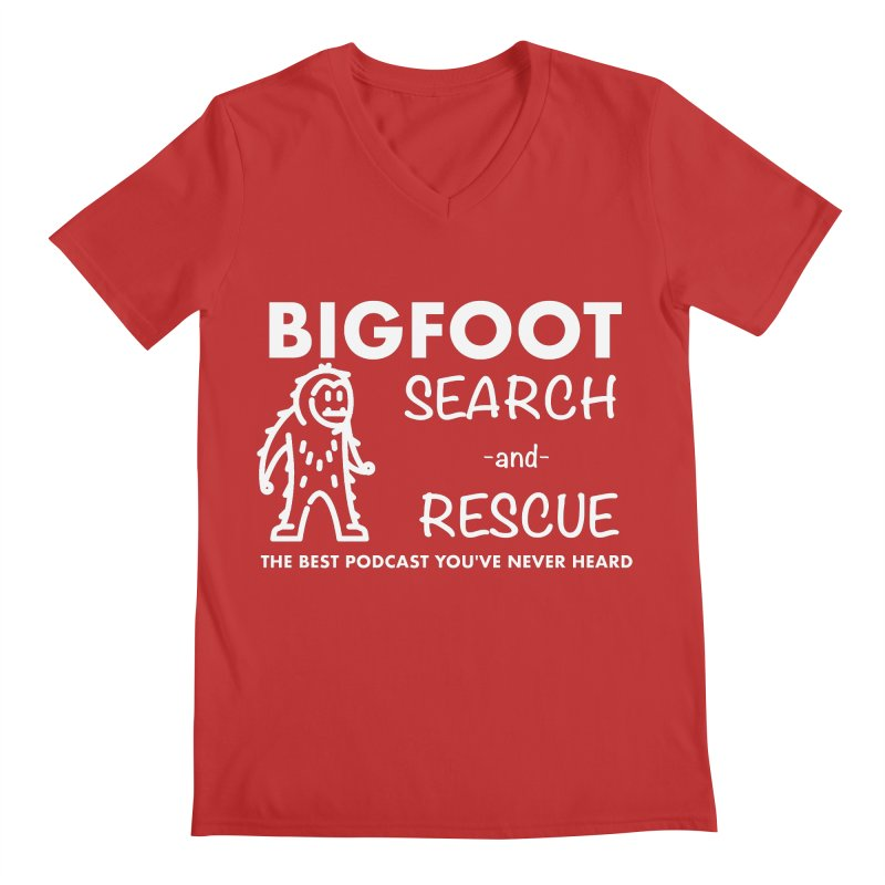 Bigfoot Search & Rescue (White) Men's Regular V-Neck by The Best Podcast You've Never Heard