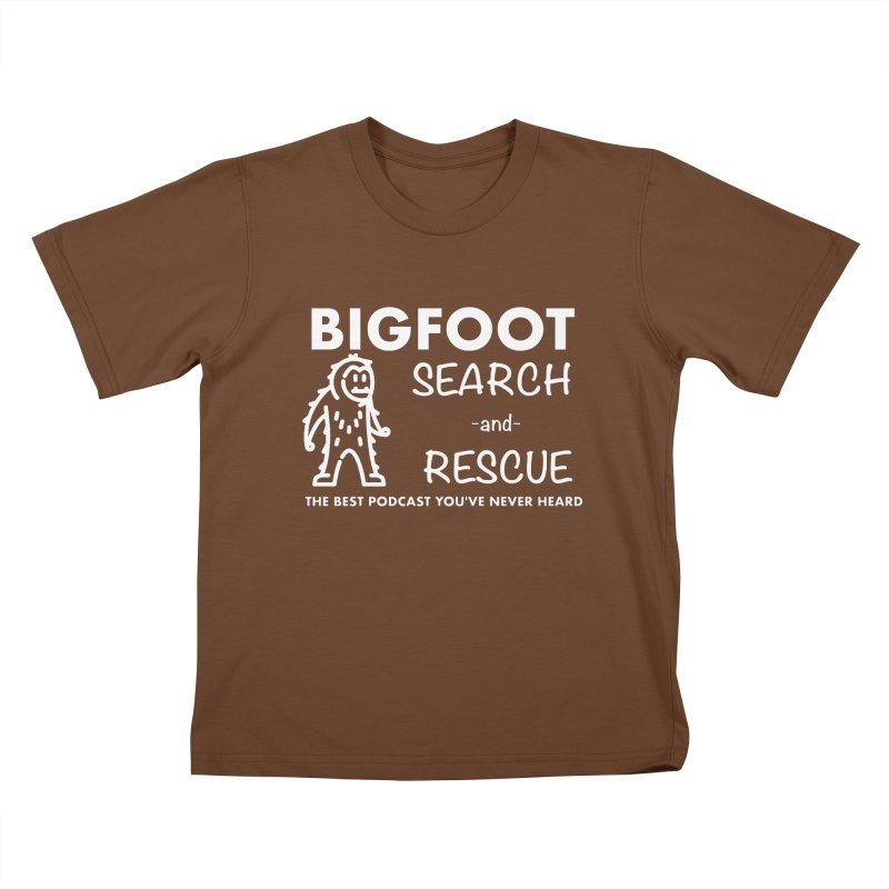 Bigfoot Search & Rescue (White) Kids T-Shirt by The Best Podcast You've Never Heard