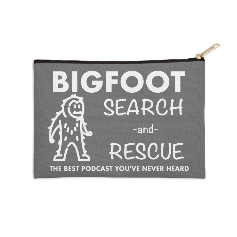 Bigfoot Search & Rescue (White) Accessories Zip Pouch by The Best Podcast You've Never Heard