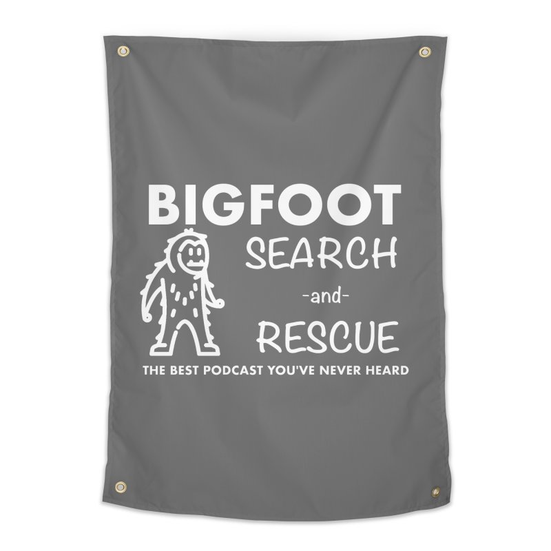 Bigfoot Search & Rescue (White) Home Tapestry by The Best Podcast You've Never Heard