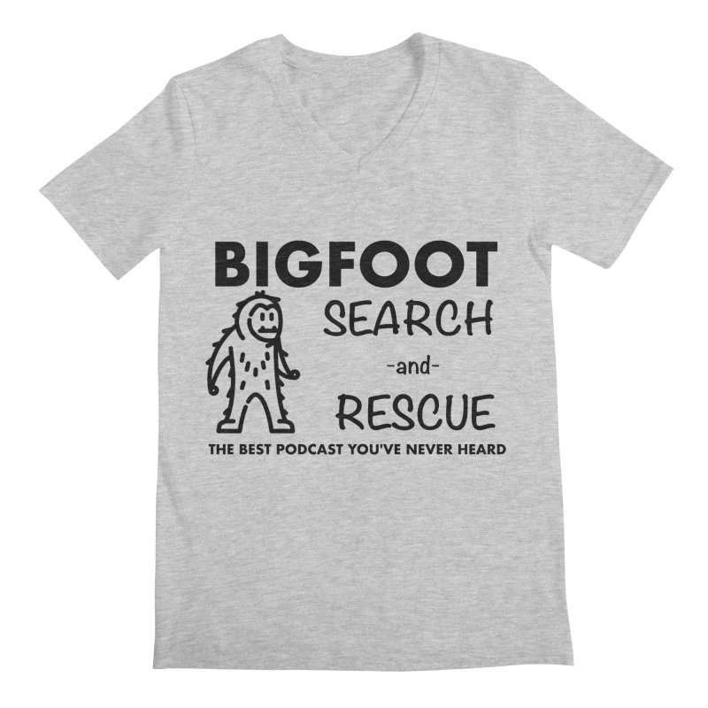 Bigfoot Search & Rescue (Black) Men's Regular V-Neck by The Best Podcast You've Never Heard