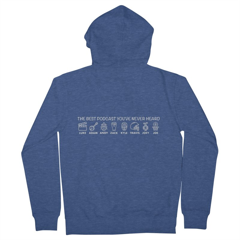The TBPYNH Cast (White) Men's French Terry Zip-Up Hoody by The Best Podcast You've Never Heard