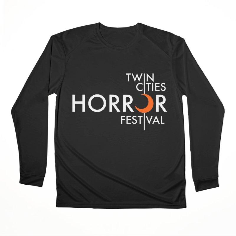 TC Horror Fest Logo Merchandise White Lettering Women's Longsleeve T-Shirt by Twin Cities Horror Festival Merchandise