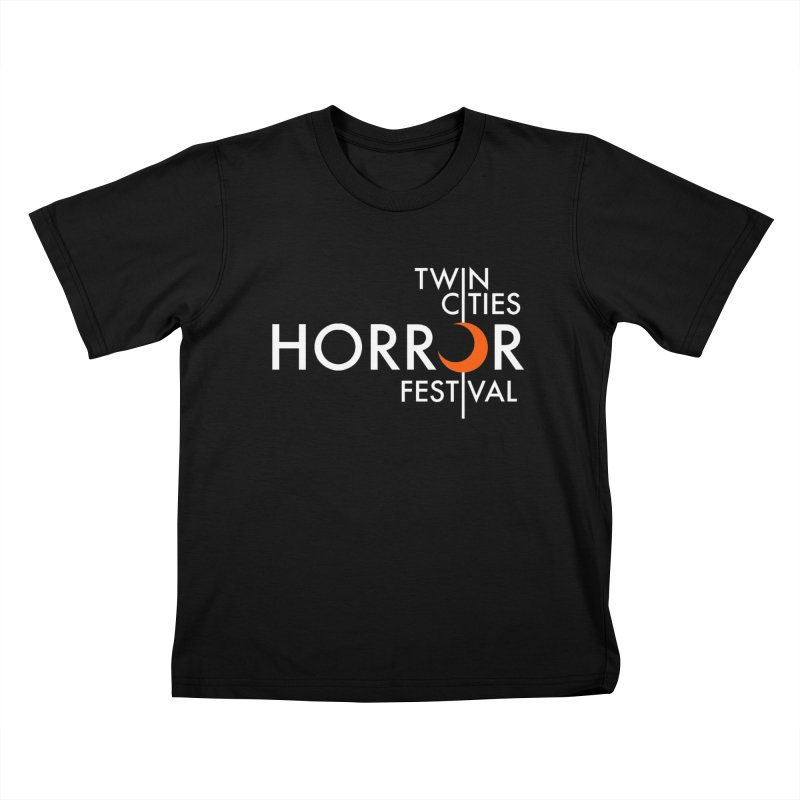 TC Horror Fest Logo Merchandise White Lettering Kids T-Shirt by Twin Cities Horror Festival Merchandise